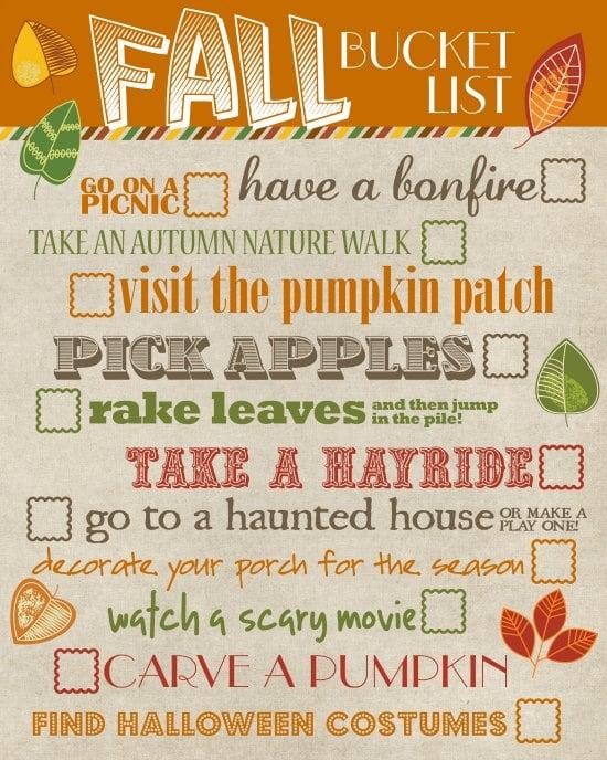 Free Printable Fall Sign Bucket List 2