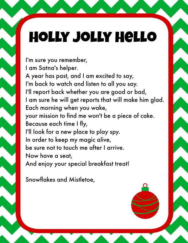 photograph relating to Letters From Elf on the Shelf Printable known as Elf Upon The Shelf Breakfast Recommendations Printable Letter