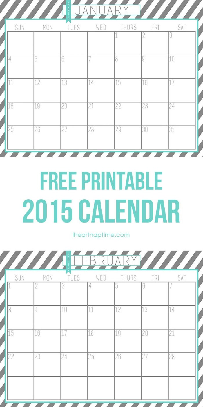 Free Printable 2015 Calendar Pages