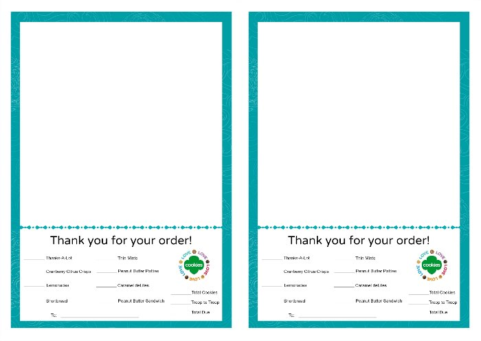 picture relating to Girl Scout Cookie Thank You Note Printable identify Woman Scout Cookies Thank By yourself Notes Free of charge Printable