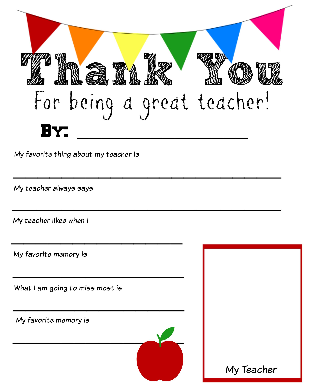 Thank You Teacher Free Printable