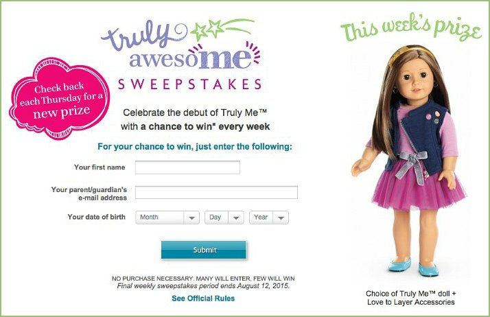 American Girl Truly Me Sweepstakes