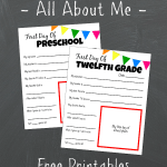 First Day of School All About Me Printable