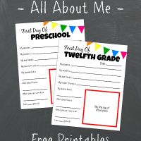 All About Me Free Printable - First Day Of School Tradition