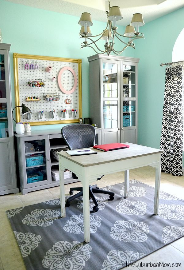 Home Office Makeover Tame Teal Paint