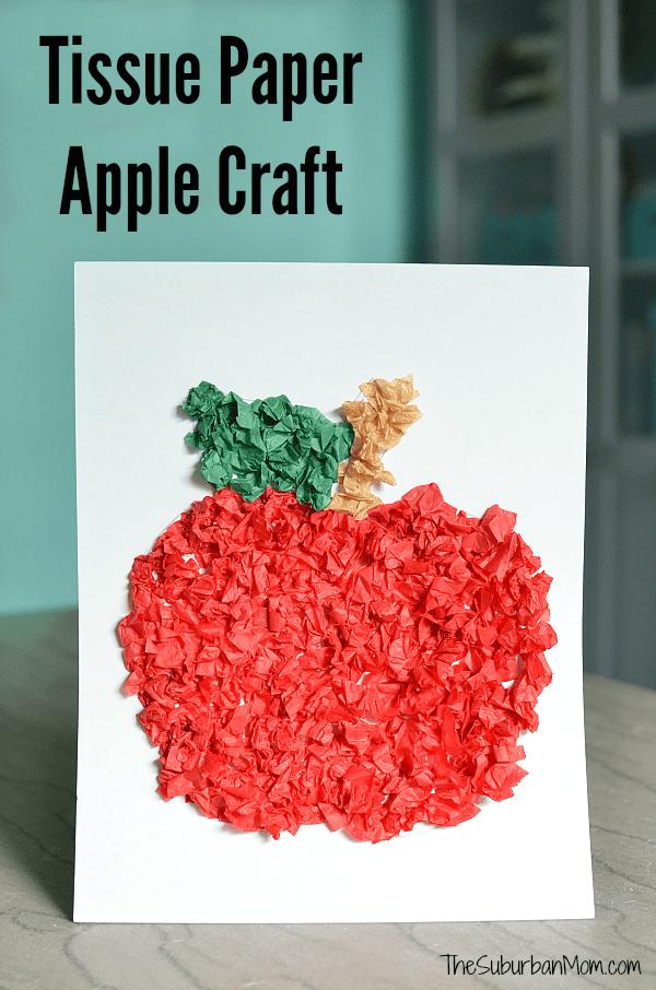 Tissue Paper Apple Craft For Preschoolers