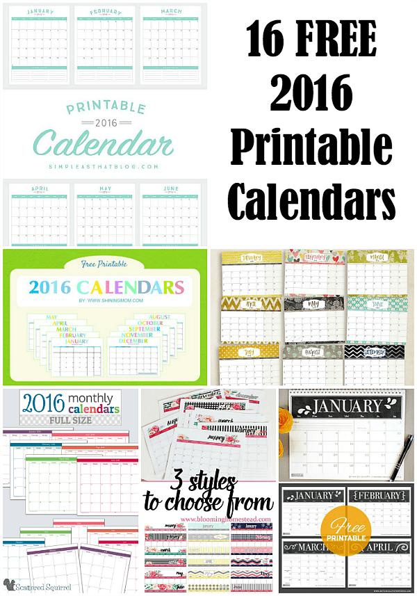 16 Free 2016 Printable Calendar