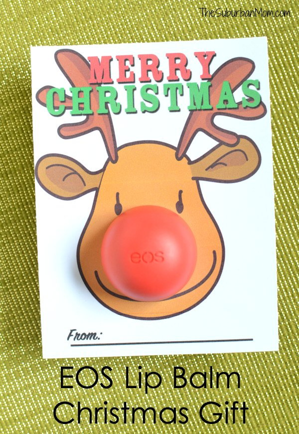 graphic about Pin the Nose on Rudolph Printable named EOS Lip Balm Reindeer Xmas Card Printable - TheSuburbanMom