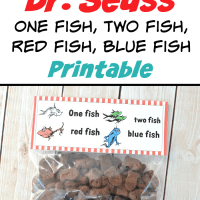 Dr. Seuss One Fish, Two Fish, Red Fish, Blue Fish Free Printable Treat Bag Toppers