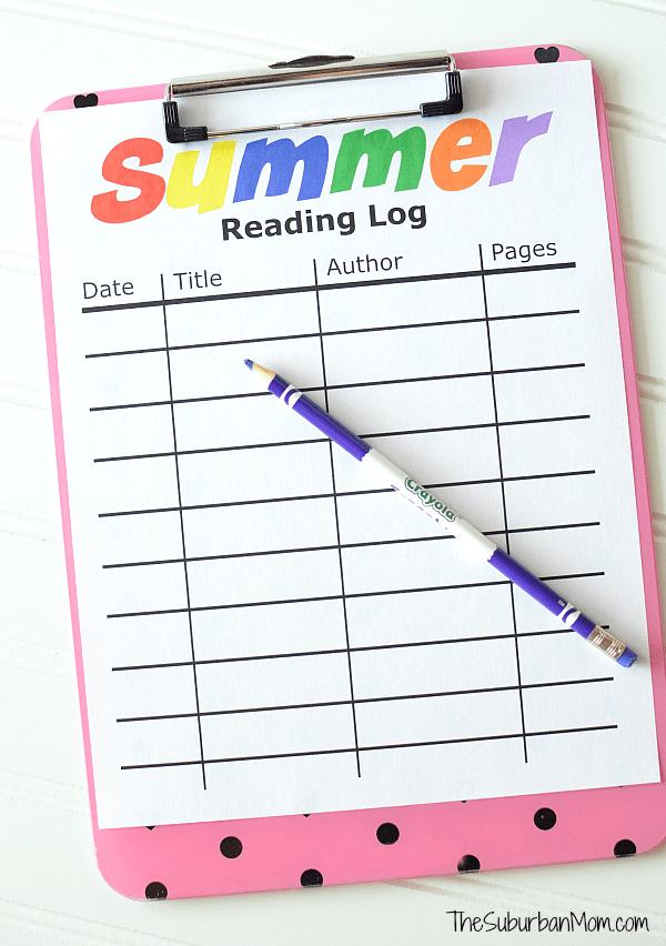 Summer screen time rules printable the suburban mom for Summer reading log template