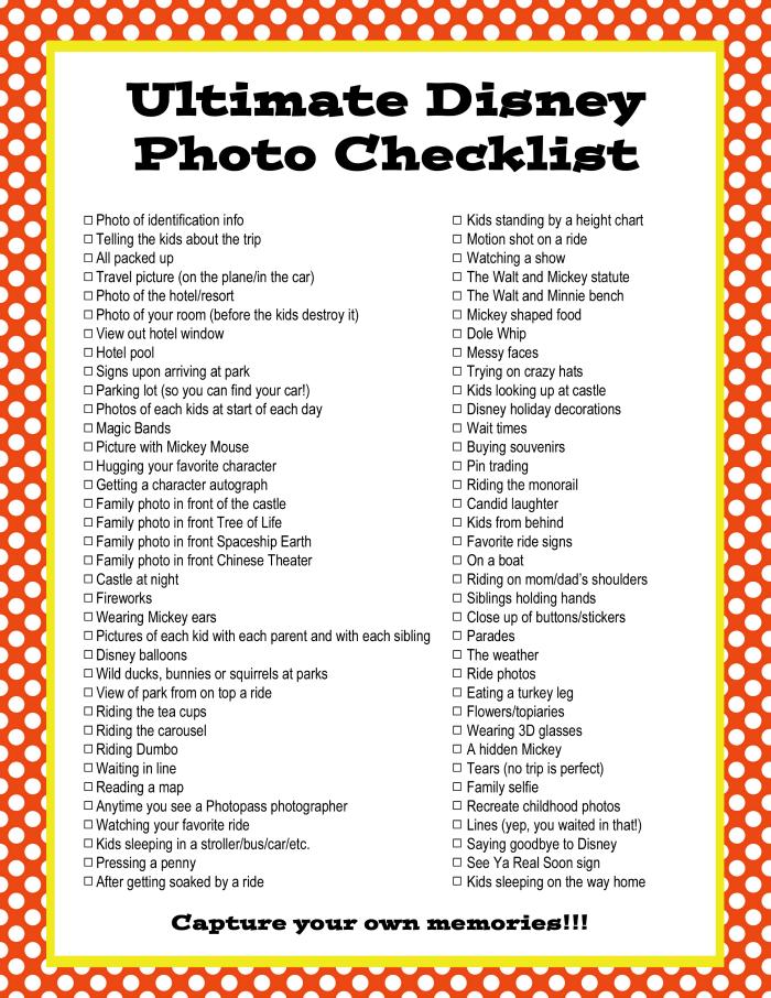 Ultimate Disney Photo Checklist