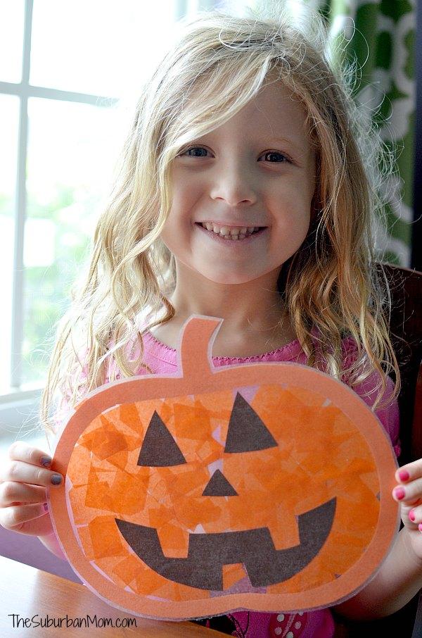 Kids Craft Pumpkin Sun Catcher