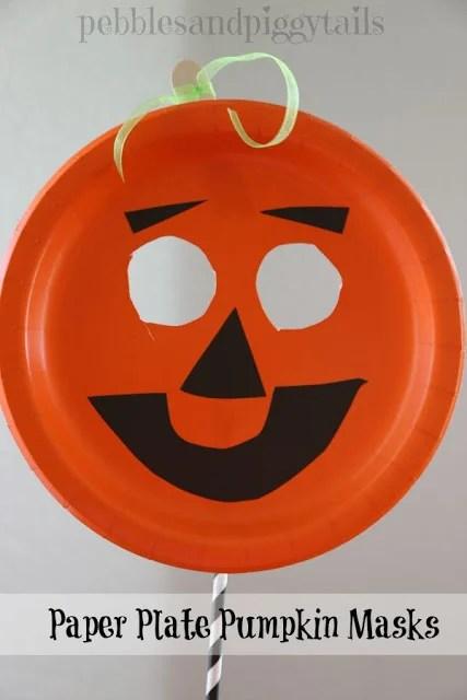 Paper Plate Pumpkin Mask