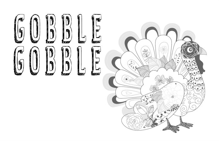 Gobble Gobble Coloring Placemat