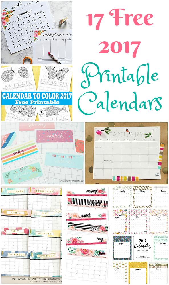 17 Free Printable 2017 Calendars The Suburban Mom
