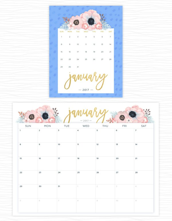 2017 Floral Printable Calendar