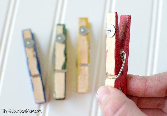 DIY Clothes Pin Thumb Tacks