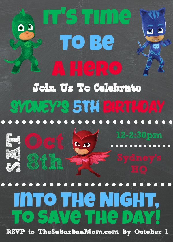 PJ Masks Party Invitation