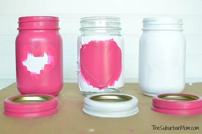 Paint Hearts Mason Jars