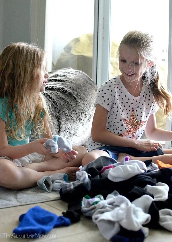 Kids Sorting Laundry