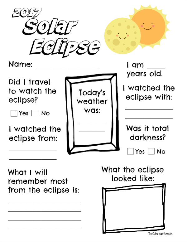 image regarding Printable Solar Eclipse Glasses known as 2017 Sun Eclipse Worksheet Printable - The Suburban Mother
