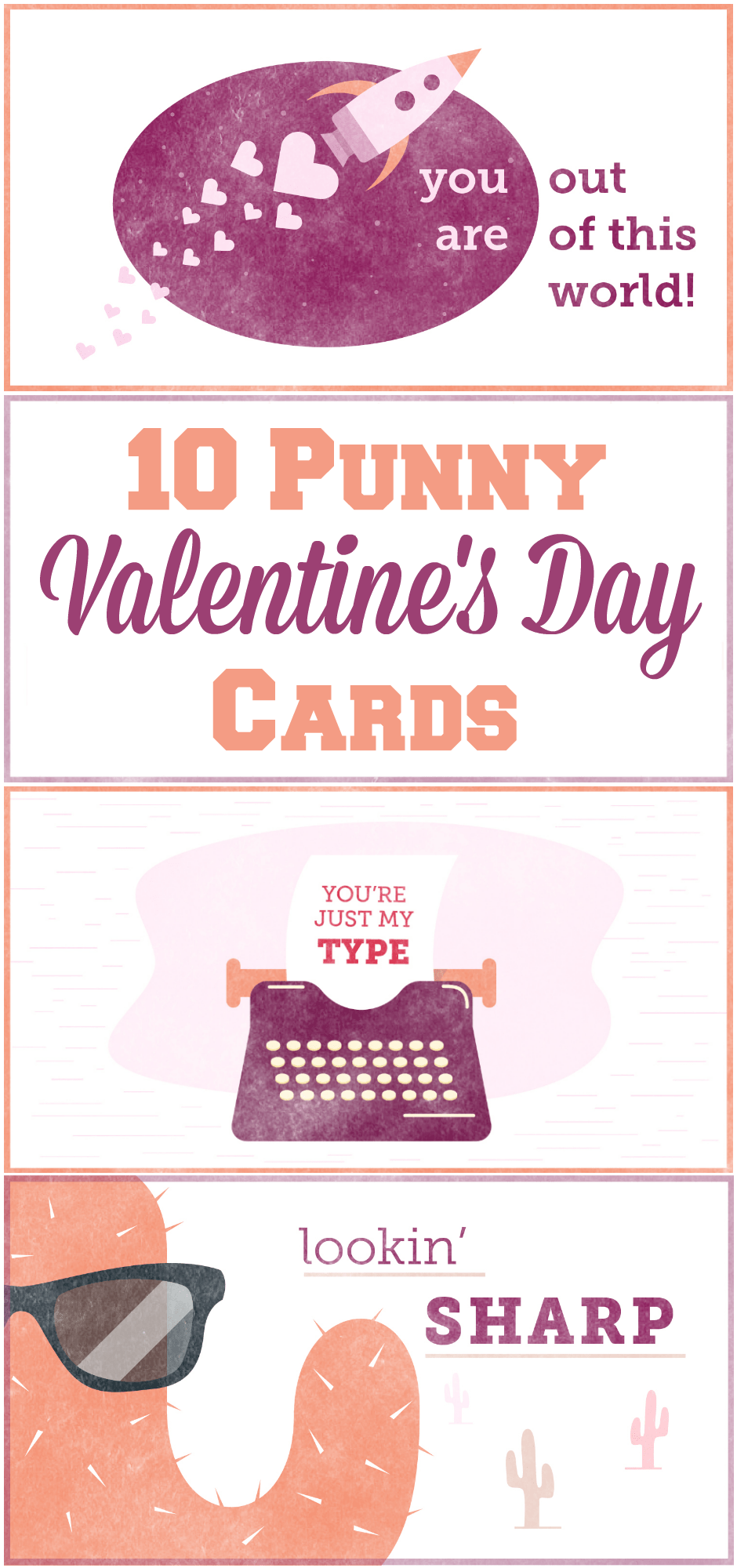 photograph about Valentines Cards Printable known as 10 No cost Punny Valentines Working day Playing cards Printables - The
