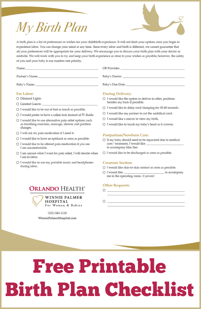 Free Printable Birth Plan Checklist