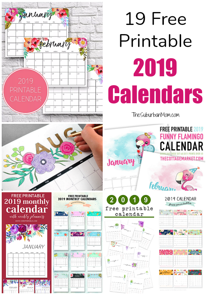 graphic regarding Printable Monthly Calendars identify 19 Totally free Printable 2019 Calendars - The Suburban Mother