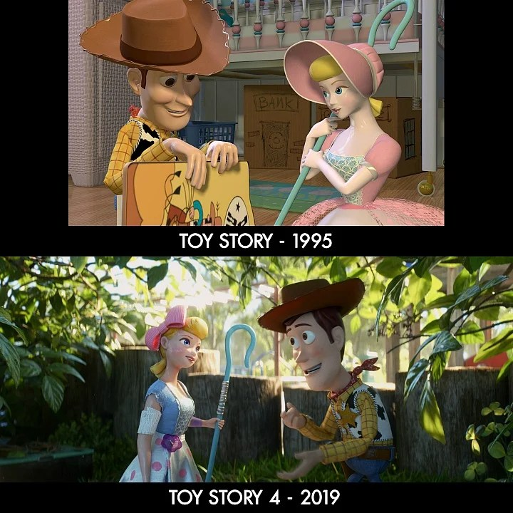 Toy Story v Toy Story 4 Woody and Bo Peep