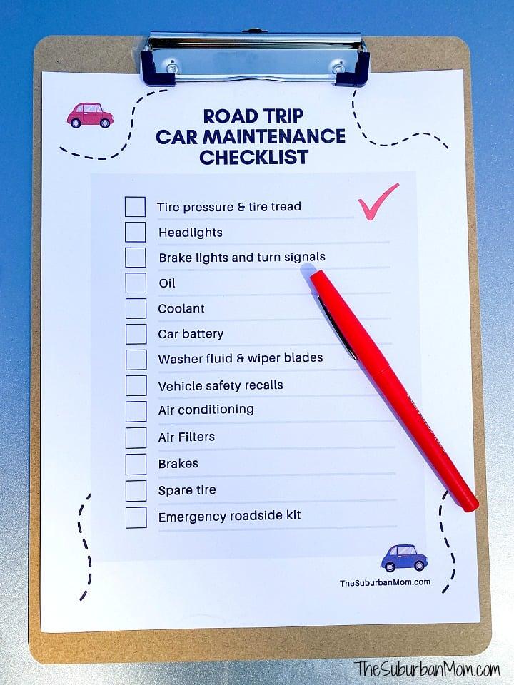 Printable Road Trip Car Maintenance Checklist
