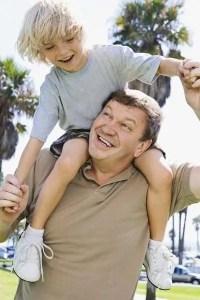 Dad and son having fun