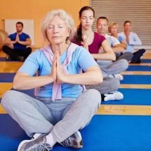 Mixed yoga class