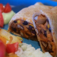 Slow Cooker Black Bean and Sweet Potato Burritos with Avocado Cream