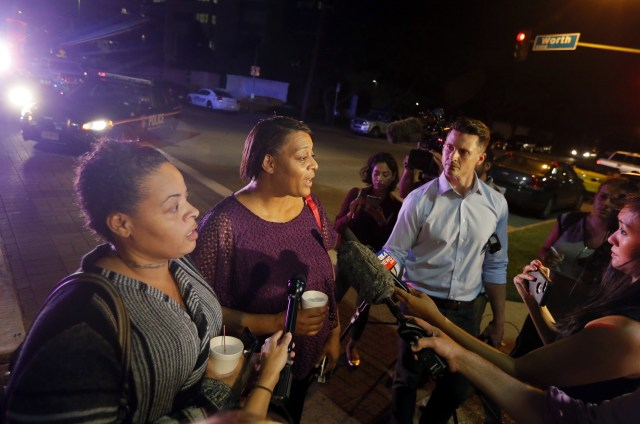 Shetamia Taylor's sisters Sherie and Theresa William speak to the media as they leave the Baylor University Medical Center
