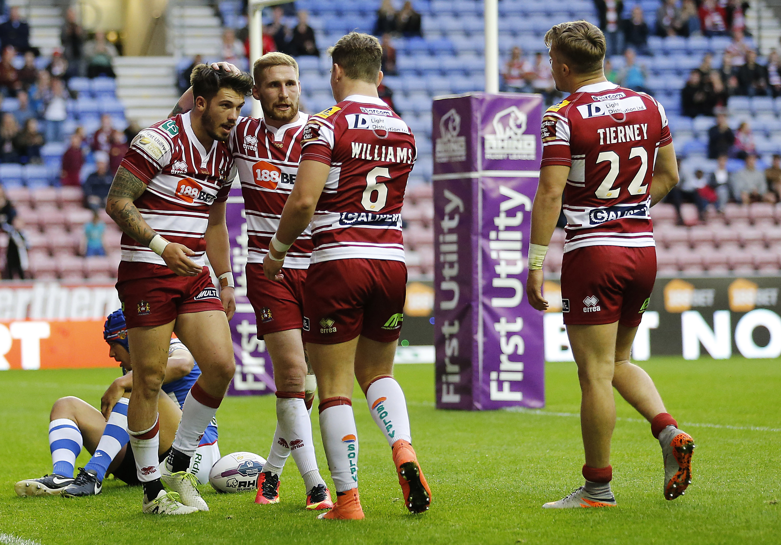 Gildart (left) could be joined by Sam Tomkins (second left) in the departure queue from Wigan