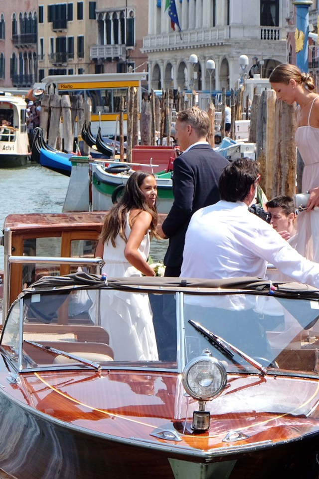 Bastian Schweinsteiger and Ana Ivanovic on a boat on the Venice waters after their wedding