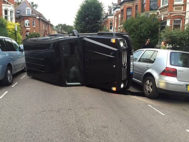 Nick's £80k Mercedes flipped on it's side as he attempted to avoid a cat