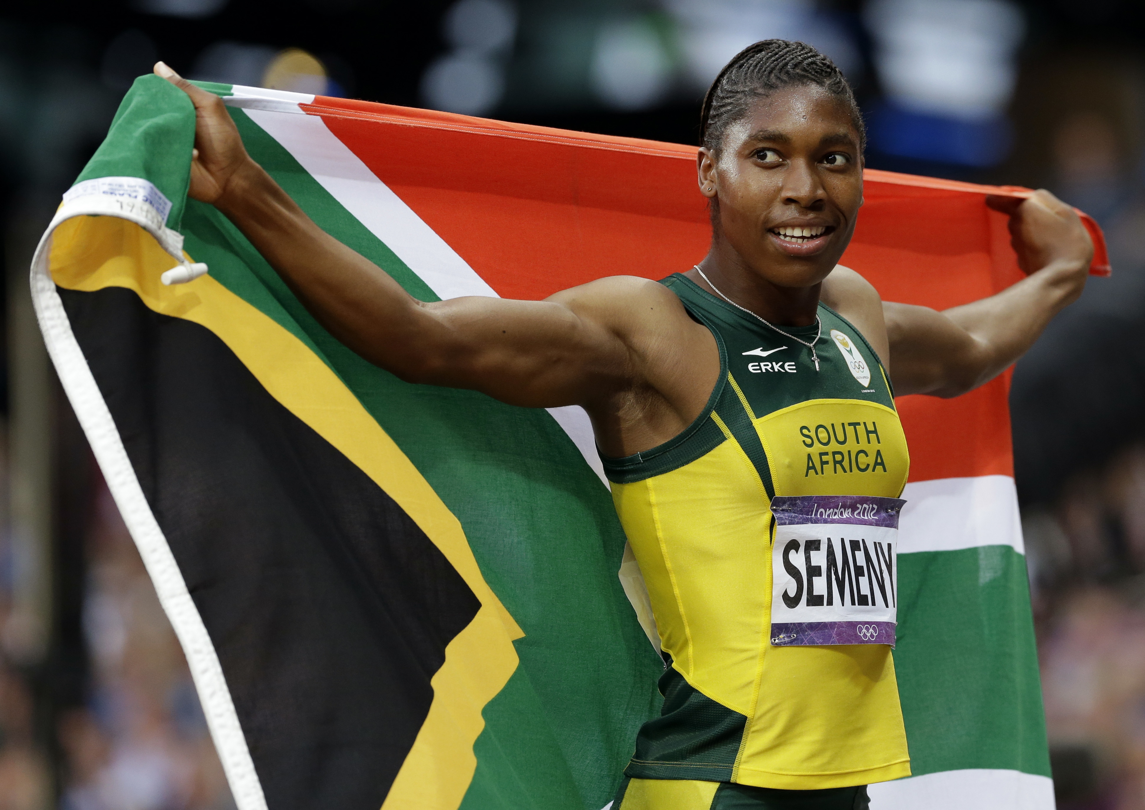Caster Semenya celebrates winning silver at London 2012 - which was later upgraded to a gold