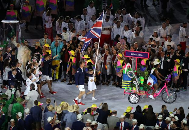 Andy Murray carried the flag for Great Britain as they entered the stadium