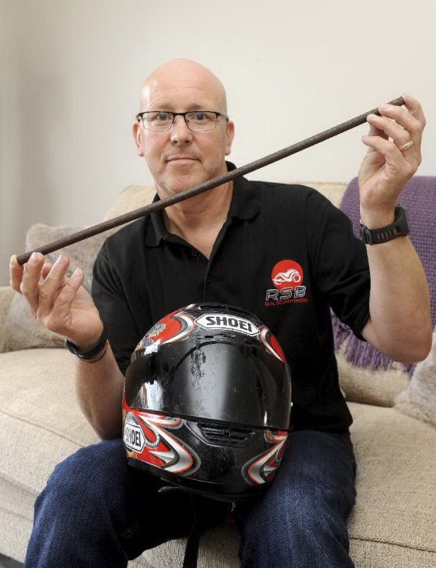 Experienced biker Paul Bradshaw impaled his head on a spike when he crashed into a ditch while out riding on his motorbike