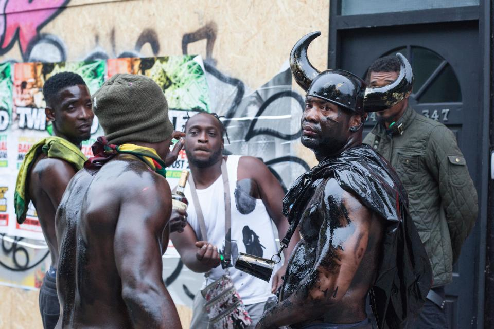 London, UK. 28 August 2016. The traditional early morning Jouvert Parade kicks off the first day of Notting Hill Carnival, one of the world's largest street festivals. At the parade paint and flour is thrown. In 2016 Notting Hill Carnival celebrates