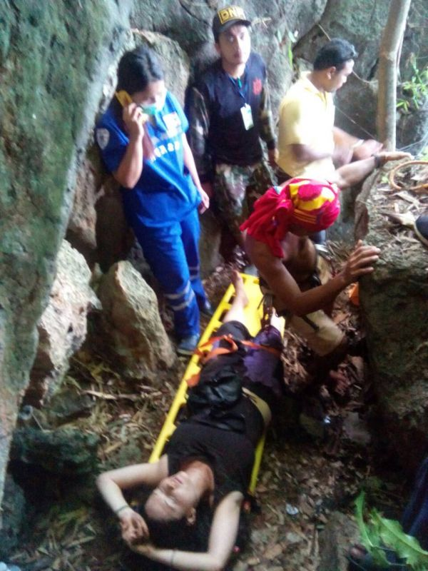 The 23-year-old American was rescued and rushed to hospital when she was eventually found at the bottom of the cliff