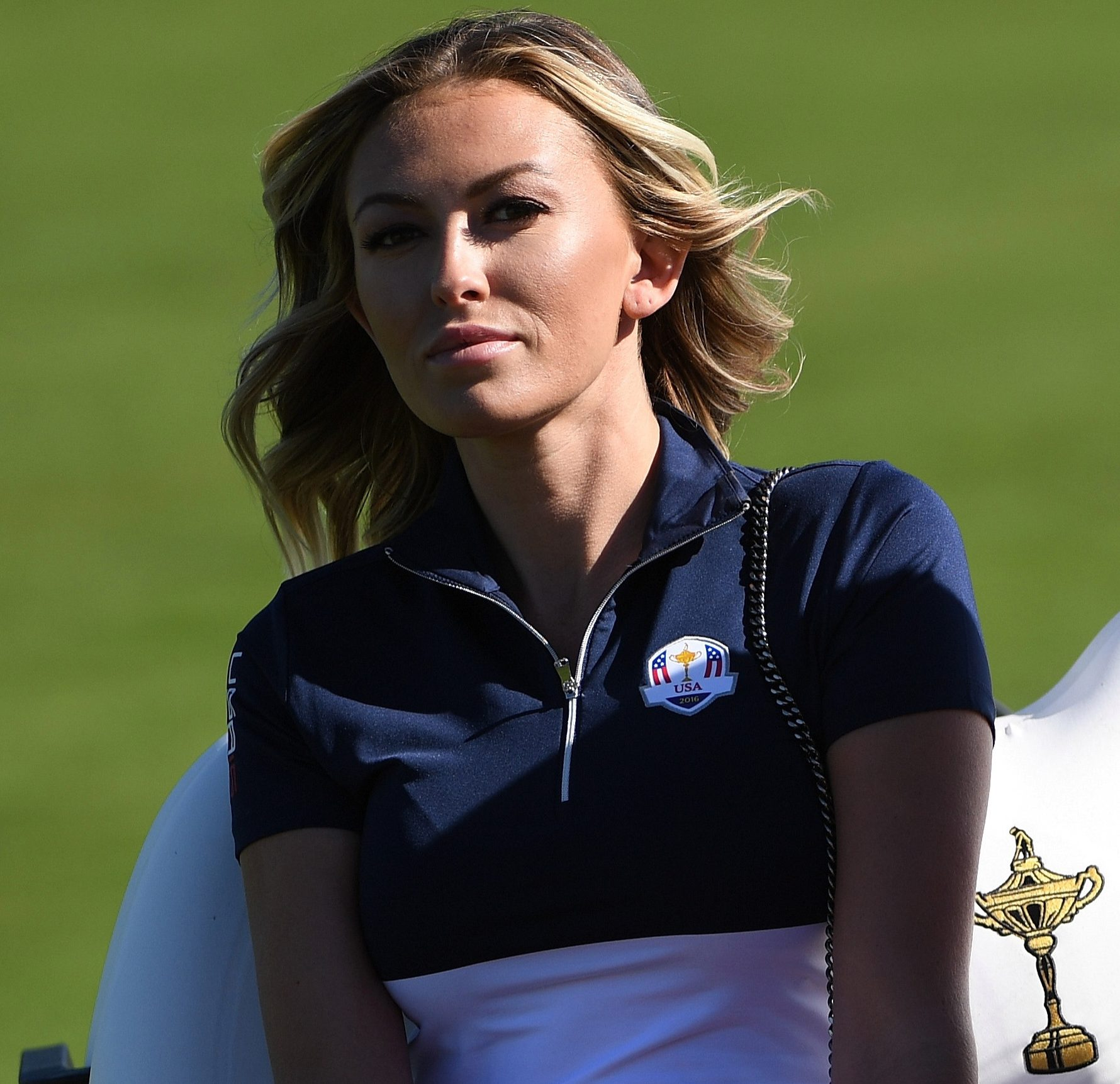 Paulina Gretzky, pictured last year, looks on as fiance Dustin Johnson helps America win back the Ryder Cup