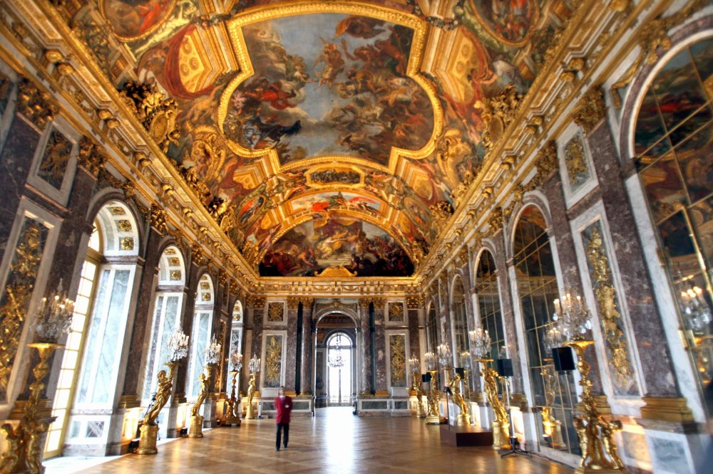 Trump is said to have taken inspiration for his interiors from the stunning Palace of Versailles in France. This photograph shows the newly restored Hall of Mirrors in 2005