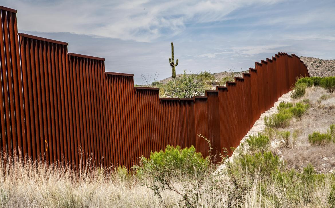 Part of the Mexican border fence that already exists in Arizona