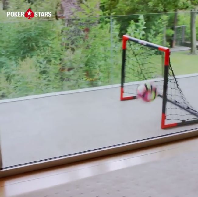Ronaldo then hits the ball out of a door, off a wall and into a goal on his balcony