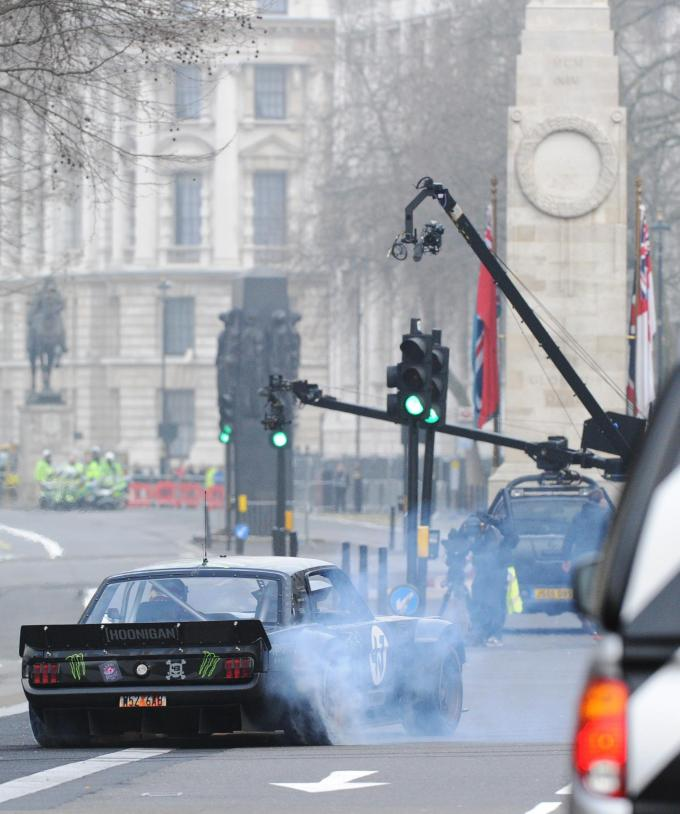 The clip seemed to take a dig at Top Gear performing wheel spins outside the cenotaph in an ill-advised stunt