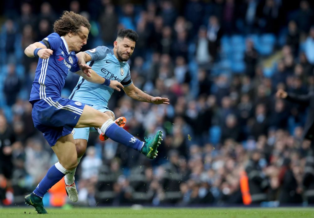 Image result for Sergio kun aguero kicking david luiz images