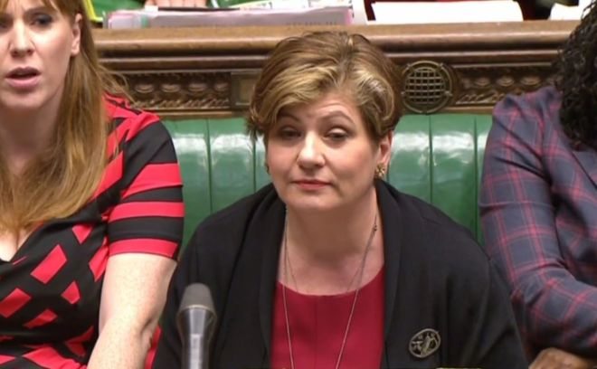Emily Thornberry was a stand in for Labour leader Jeremy Corbyn at PMQs