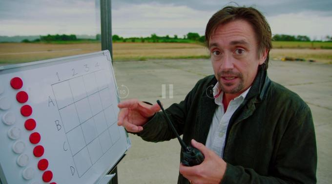 Richard Hammond faced off with James May in a giant version of the classic boardgame